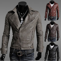 Wholesale 2012 New Fashion Men s Locomotive cultivate one s morality PU Leather Jackets Coat Outerwear