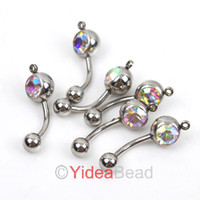 Wholesale Body Jewelry AB Rhinestone Piercing Stainless Belly Navel Nail Bodyrings