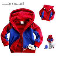 Wholesale NINSMODA red SPIDERMAN boys Cartoon Thick Hooded jacket boys jacket cartoon Clothing