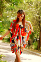 Wholesale Womens dresses ladies Plus size printed casual dress poncho sleeve party dress Bohemian dress