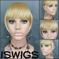 Wholesale synthetic wig New Clip On Bang Hairpiece extension wig blonde