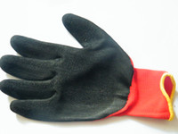 Wholesale black latex coated red cotton working glove pairs