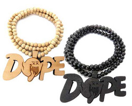 Good quality Fashion hiphop Mens jewelry Good Wood Rosary Wooden Beads Necklace Black wood red brown