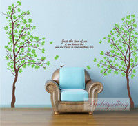 Wholesale Removable Large size in1 Green AB Twins Lover Trees Wall Sticker Mural Decor Room TV background