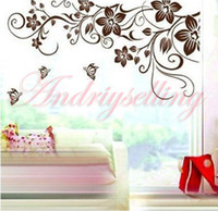 Wholesale 70cm cm Flower Vine Butterfly Removable Wall Sticker Art Mural Sitting Living Room Decal Decor