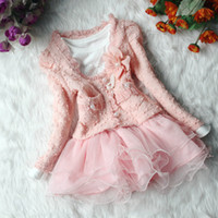 Wholesale New Year Baby clothes set Girls Tutu Skirt Long Sleeve Kids Lace Chiffon Dress Pink Cardigan Flower