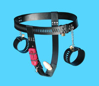 Chastiy Belt Female  Wholesale - -Female T style Chastity belt, vibrating anal plug,Leather chastity device