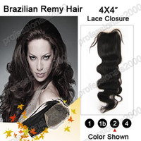Wholesale 12 quot quot Lace Top Closure quot x4 quot brazilian remy Hair B natural black body wave g g per pc