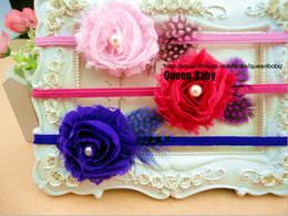 Wholesale trial order Chiffon Shabby Flower Headband with Feathers Pearl Elastic Headbands Nylon Hair Band QueenBaby