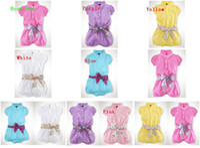 Wholesale 2015 color choices Children belt Romper girls Short sleeve Romper Bowknot garment jumpsuits