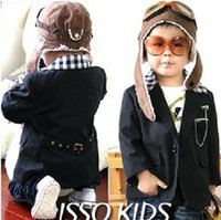 Boy 2-7years 5 7 9 11 13 Children's clothes ---- baby boys coat boys jacket super cool grid black coat worldtrade68
