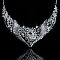 Wholesale Hot Sale noble Luxurious crystal Wedding Bridal Jewelry Including Necklace Earrings
