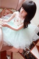 Wholesale Children Wears for Summer Girl s Small calico nets yarn Kids Skirts lace collar Girl Baby Dress