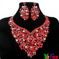 Wholesale Retail New Fashion Wedding Bridal Earring Necklace Jewelry Set Crystal Heart WA37