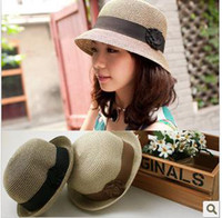 Wholesale thantrue Ladies and straw summer sun beach hat in the summer with Japanese flower dome good qulity