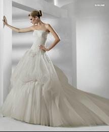 Wholesale Strapless Applique Organza Chapel Train Wedding Dress Ball Gown Sublime