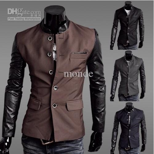 New Men's Jacket Slim Suit Jacket Leather Sleeves Suit Jacket Coat ...