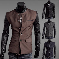 Wholesale new men s Jacket Slim Suit Jacket Leather sleeves Suit Jacket Coat