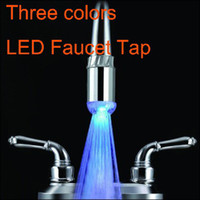 Wholesale 20pcs Three Colors LED Faucet Light Water Stream Faucet Tap adaptor A2 Freeshipping