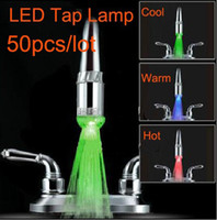 Wholesale Three Colors LED Faucet Light Water Stream Faucet Tap adaptor Freeshipping
