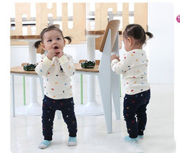 Wholesale Baby Girls Spring Outfit Top Shirt long navy pant Band Kids Outwear Children clothing sets