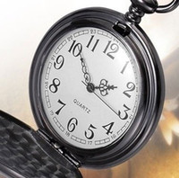 Wholesale watch Plain Polished Black Watch Antique Mens Pocket Watch Antique HOT