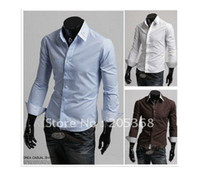 Men Cotton Long Sleeve Men's Shirts,Inside Silk Affixed Cloth Shirts,Casual Slim Fit Stylish Dress Shirts Color:4 Color