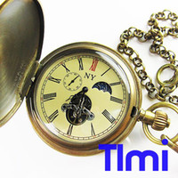 Wholesale Brass Antique Moonphase Mechanical Pocket Watch