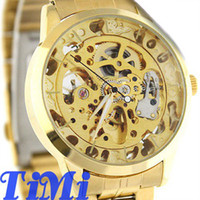 Wholesale 2012 Elegant Full Golden Automatic See Through Watch Gold Steel Band Mens HQ Gift