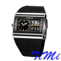 Wholesale 2012 hotsale OHSEN BLACK DUAL TIME M WATERPROOF DIVER SPORT WATCH