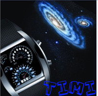 Wholesale 2011 Fashion Design Blue LED Light Dot Matrix Mens WATCH freeship Diving