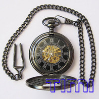Wholesale Vegan New Black Classic Antique Roman Mechanial Pocket Watch freeship