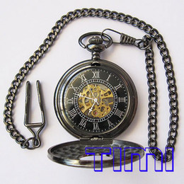 Vegan New Black Classic antique romaine mécanique Pocket Watch freeship à partir de antiquités montre de poche fournisseurs
