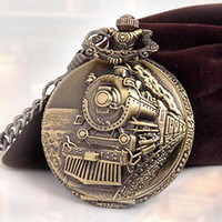 antique railroad pocket watches - 2012 hotsale Classical Railroad Steam Train Pocket Watch Bronze Tone