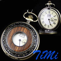 Wholesale Antique Bronze Wood Mechanical Skeleton Pocket Watch freeship