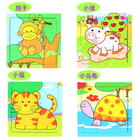 Wholesale high quality coloful cartoon animal puzzles wooden jigsaw intelligence toy block christmas gift