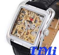 Wholesale 2012 DELUXE FULL GOLDEN SQUARE DIAL MENS AUTOMATIC WRIST WATCH CLEAR FASHION LEATHER freeship