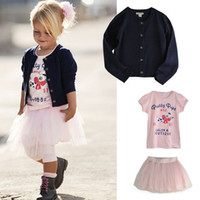 Wholesale Autumn Cotton Girls pc Dress Sets Long Sleeve Coats pc sets Coat Shirt Dress