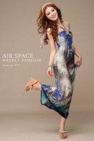 Halter 118 cm A Line Summer Spring Maxi Dress Long Bohemian Sleeveless Maxiskit Boho Jungle Print Blue and Orange Colors