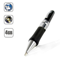 Wholesale Black GB Memory Ball pen Style Secret Agent Spy Pen Camera Camcorder with Audio