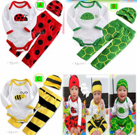 Wholesale Boys Girls pc Sets Pure Cotton Long Sleeve Bee Beatles pc sets Romper PP Pant Hat