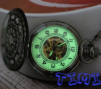 Wholesale 2012 hotsale Black Green Radiant Luminous Lights Mechanical Pocket Watch new