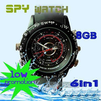 Wholesale 8GB Waterproof Hidden Digital Spy Watch AVI Mini Camcorder DVR without retail box