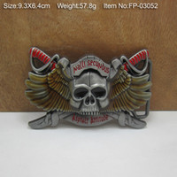 Wholesale Skull belt buckle weaponary belt buckle with pewter finish FP