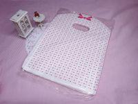 all'ingrosso borse di merce-100 pezzi nuovi lotti puntino di colore rosa del Tote di acquisto PLASTICA sacchetti della borsa di L / gadget Borse / borse gioielli
