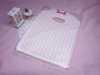 100 pezzi nuovi lotti ROSA DOT acquisto del Tote sacchetti di plastica BORSA L / Merchandise Borse / borse gioielli