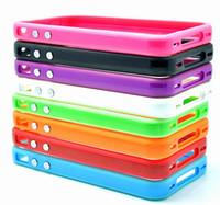 al por mayor piezas tope de iphone-La nave libre 20 pedazos caja de parachoques Mixta del capítulo TPU cubierta de piel para el iphone 4 4G 4S paquete al por menor