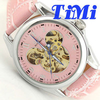 Wholesale 2012 GOER Fashion Pink Mickey Dial Women Lady Girl Wrist Watch Automatic Leather freeship