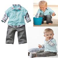 Boy 80-120CM 80-120CM baby boy suit 2-pcs plaid long sleeve t shirt + jeans children clothes kids jumpsuits for autumn