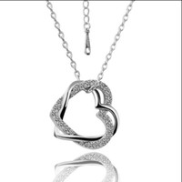 Wholesale High quality plated K Platinum Gold Czech diamond heart pendant necklace